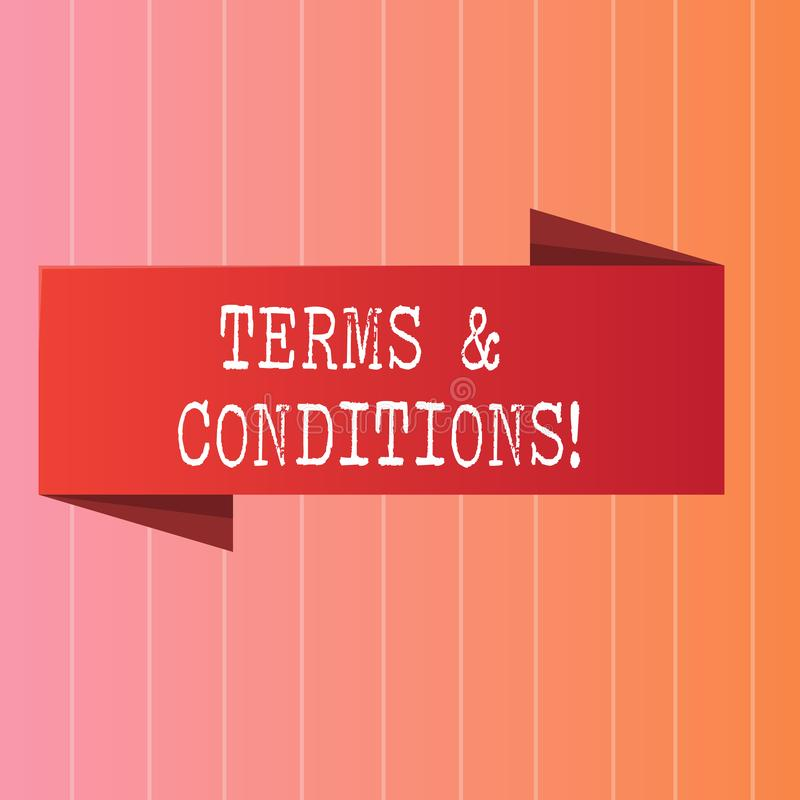 Writing note showing Terms And Conditions. Business photo showcasing Legal Law Agreement Disclaimer Restrictions. Writing note showing Terms And Conditions stock illustration