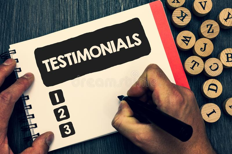 Writing note showing Testimonials. Business photo showcasing Customers formal endorsement statement experience of someone Creative. Idea paper object stock photo