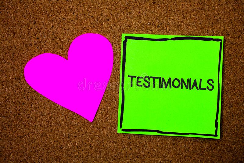 Writing note showing Testimonials. Business photo showcasing Customers formal endorsement statement experience of someone Love bro. Wn colour nice hart art work royalty free stock images
