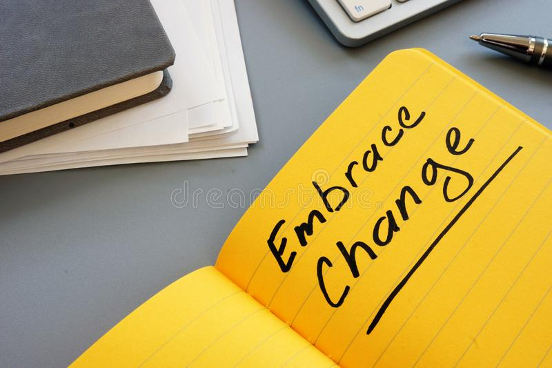 Writing note showing the text Embrace Change royalty free stock photos