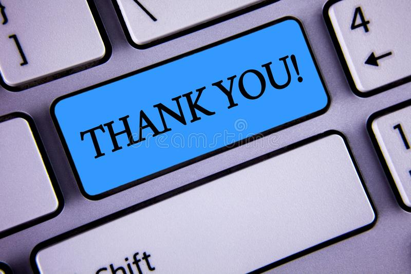 Writing note showing Thank You Motivational Call. Business photo showcasing Appreciation greeting Acknowledgment Gratitude writte stock image