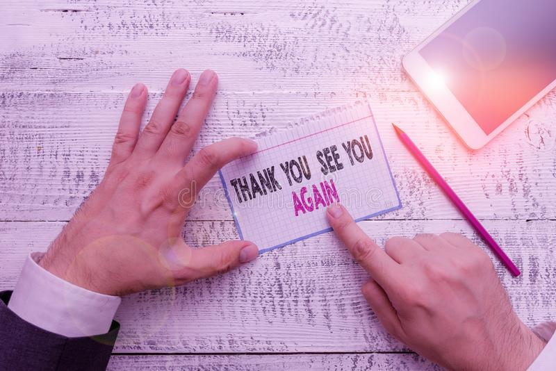 Writing note showing Thank You See You Again. Business photo showcasing Appreciation Gratitude Thanks I will be back. Writing note showing Thank You See You royalty free stock photos