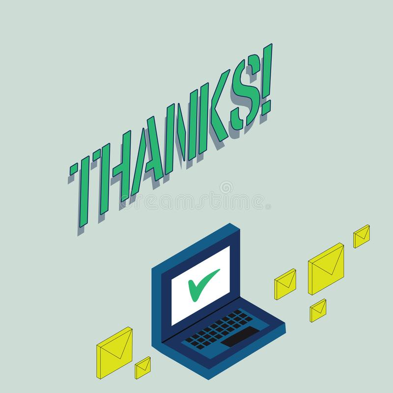 Writing note showing Thanks. Business photo showcasing Appreciation greeting Acknowledgment Gratitude. vector illustration