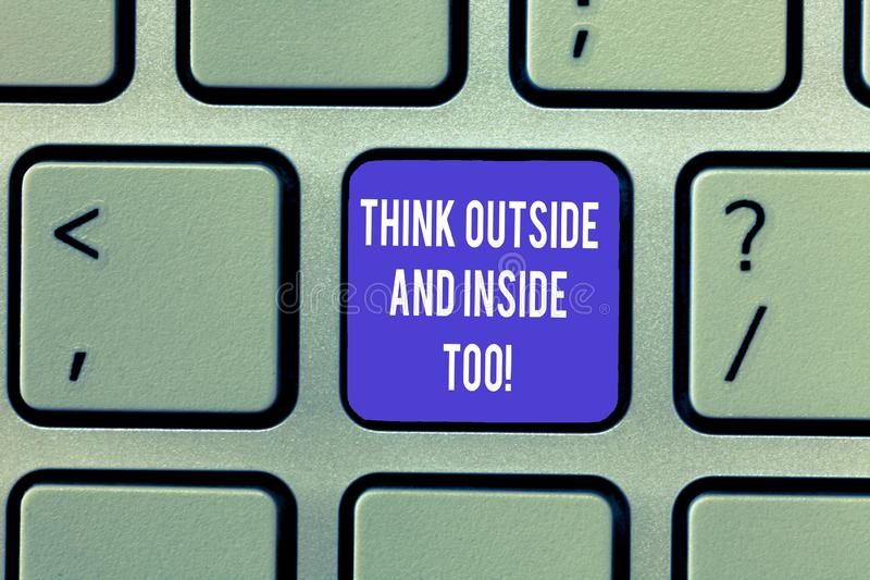 Writing note showing Think Outside And Inside Too. Business photo showcasing See the problem from different perspectives. Keyboard Intention to create computer royalty free stock photo