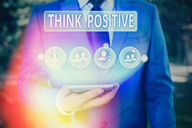 Writing note showing Think Positive. Business photo showcasing The tendency to be positive or optimistic in attitude royalty free stock image