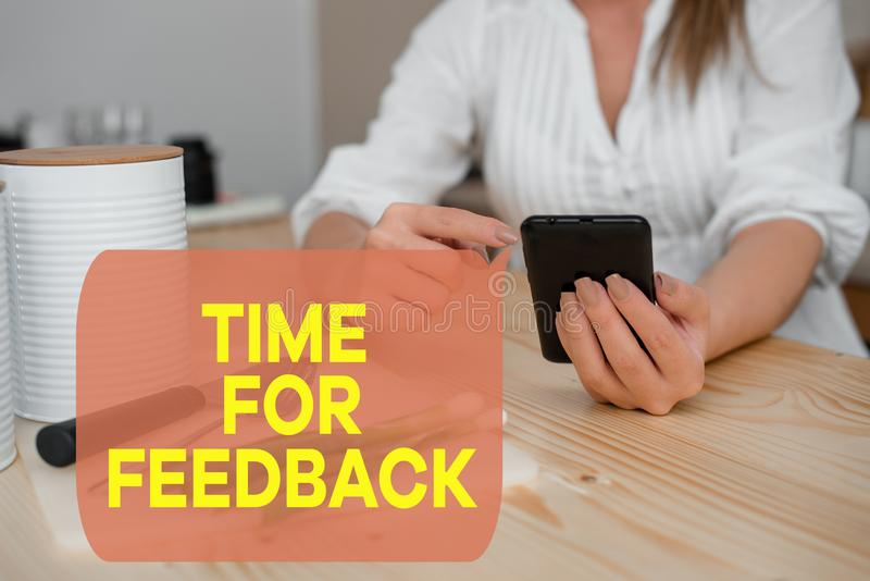 Writing note showing Time For Feedback. Business photo showcasing information about reactions to a product or services. Writing note showing Time For Feedback royalty free stock photo