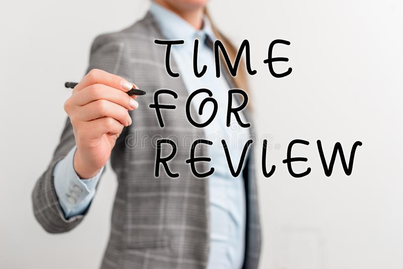Writing note showing Time For Review. Business photo showcasing review of a system or situation in its formal. Writing note showing Time For Review. Business royalty free stock images