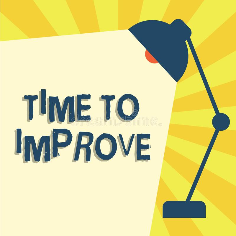 Writing note showing Time To Improve. Business photo showcasing telling someone to develop himself Study hard Courses vector illustration