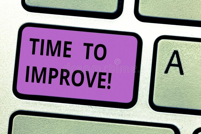 Writing note showing Time To Improve. Business photo showcasing Telling someone to develop himself Study hard Courses. Keyboard key Intention to create computer royalty free stock photos