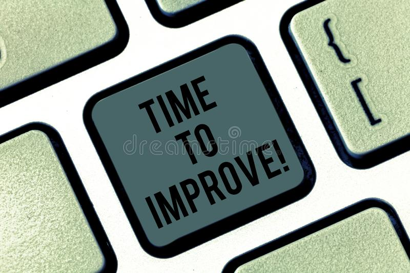 Writing note showing Time To Improve. Business photo showcasing Telling someone to develop himself Study hard Courses. Keyboard key Intention to create computer royalty free stock photography