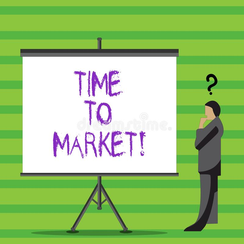 Writing note showing Time To Market. Business photo showcasing Right moment for making financial movements stock. Exchange royalty free illustration