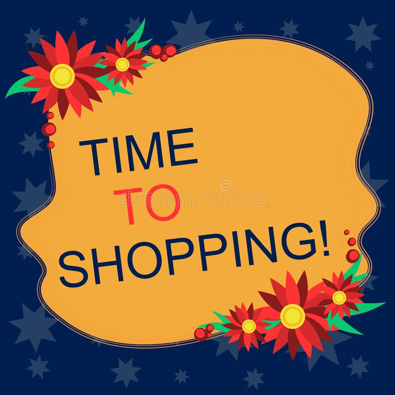 Writing note showing Time To Shopping. Business photo showcasing Moment for purchasing new products on shops Sales Blank. Writing note showing Time To Shopping stock illustration