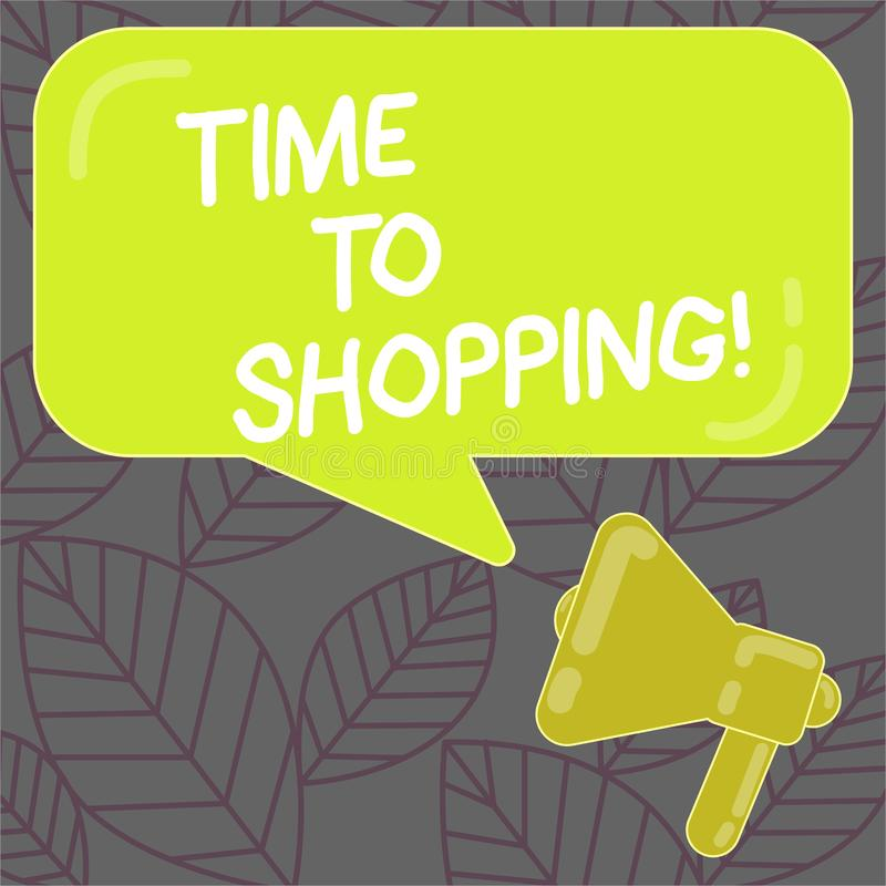 Writing note showing Time To Shopping. Business photo showcasing Moment for purchasing new products on shops Sales. Writing note showing Time To Shopping royalty free illustration