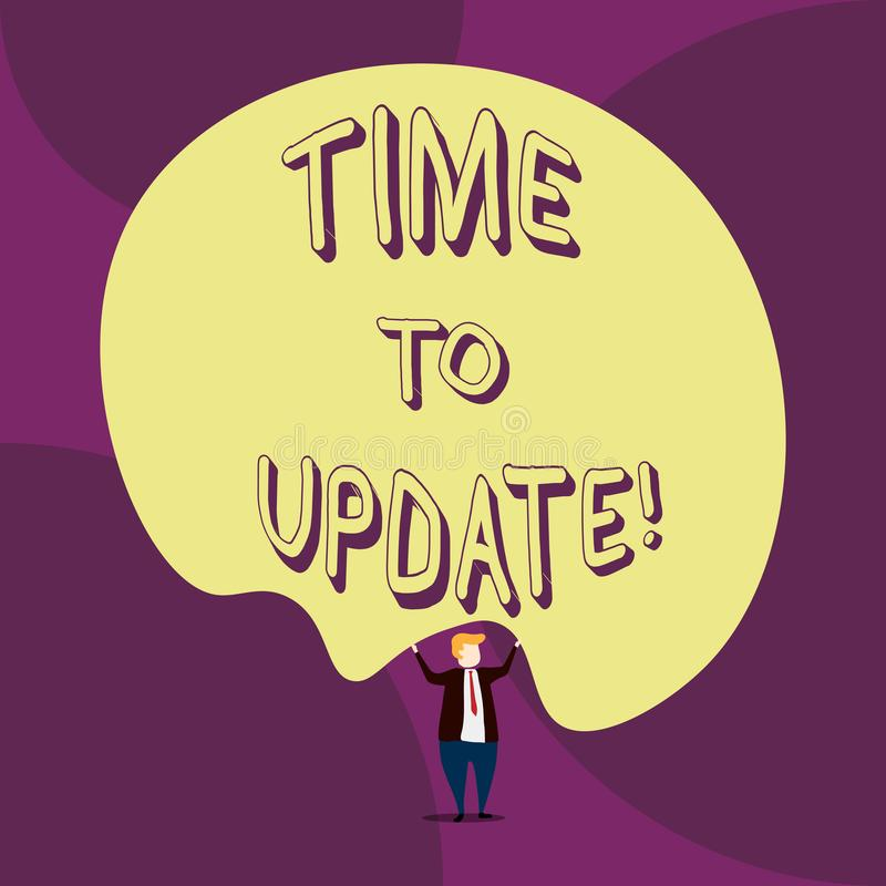 Writing note showing Time To Update. Business photo showcasing act updating something someone or updated version program. Writing note showing Time To Update royalty free illustration