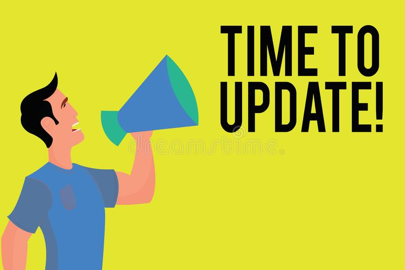 Writing note showing Time To Update. Business photo showcasing improving software or product with newer better version stock illustration