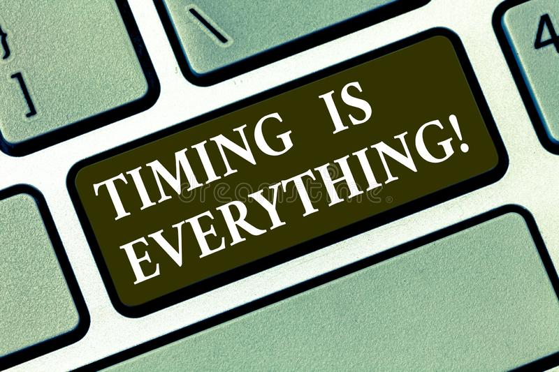 Writing note showing Timing Is Everything. Business photo showcasing when the time is right, everything will fall into. Place Keyboard key Intention to create royalty free stock images