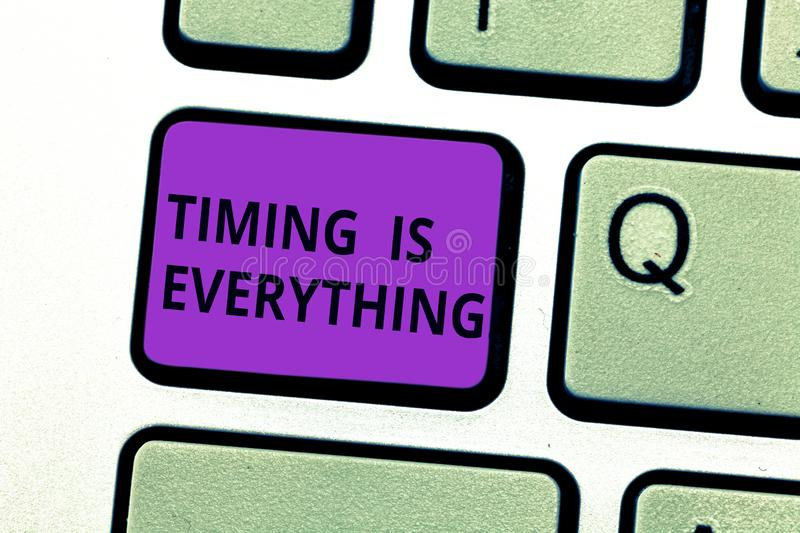 Writing note showing Timing Is Everything. Business photo showcasing when the time is right, everything will fall into. Place Keyboard key Intention to create stock photos