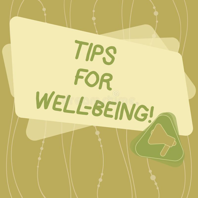 Writing note showing Tips For Well Being. Business photo showcasing advices to state of being comfortable healthy or happy. Megaphone Inside Triangle and Blank stock illustration