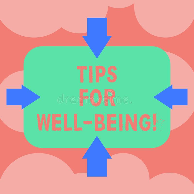 Writing note showing Tips For Well Being. Business photo showcasing advices to state of being comfortable healthy or. Happy Arrows on Four Sides of Blank royalty free illustration