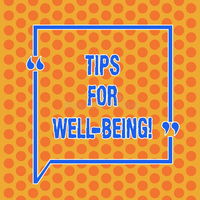 Writing note showing Tips For Well Being. Business photo showcasing advices to state of being comfortable healthy or happy Round. Punch Holes Small Color stock illustration