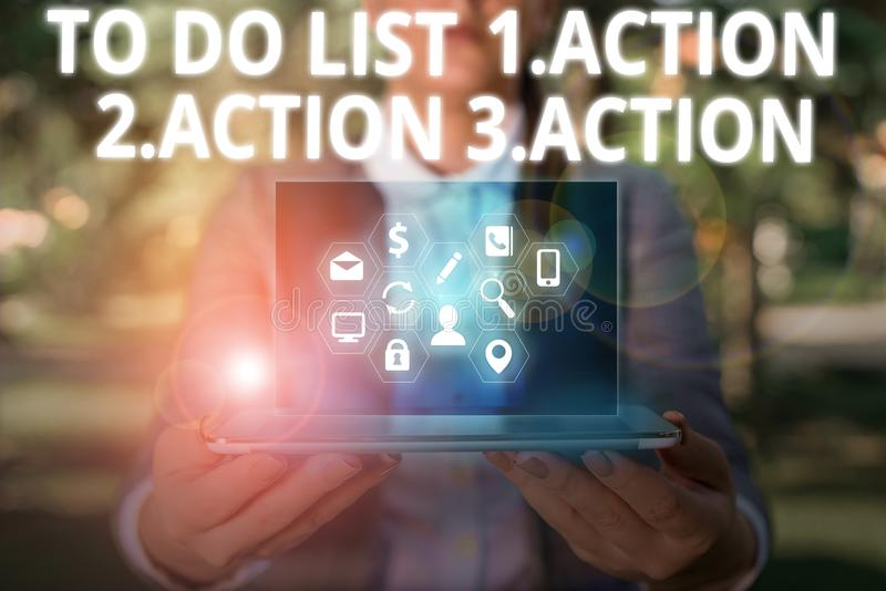 Writing note showing To Do List 1Action 2Action 3Action. Business photo showcasing putting day priorities in order. stock photos
