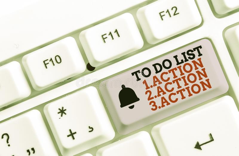 Writing note showing To Do List 1Action 2Action 3Action. Business photo showcasing putting day priorities in order White royalty free stock images