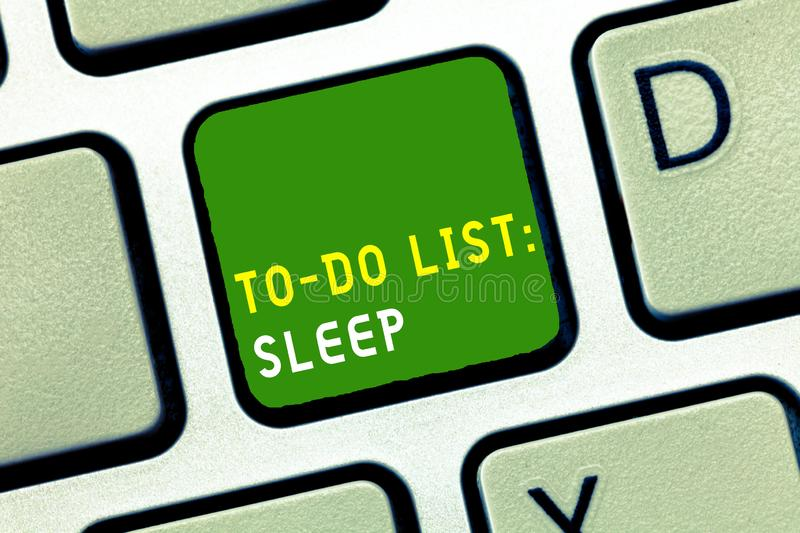 Writing note showing To Do List Sleep. Business photo showcasing Things to be done Priority object is to take a rest stock photo