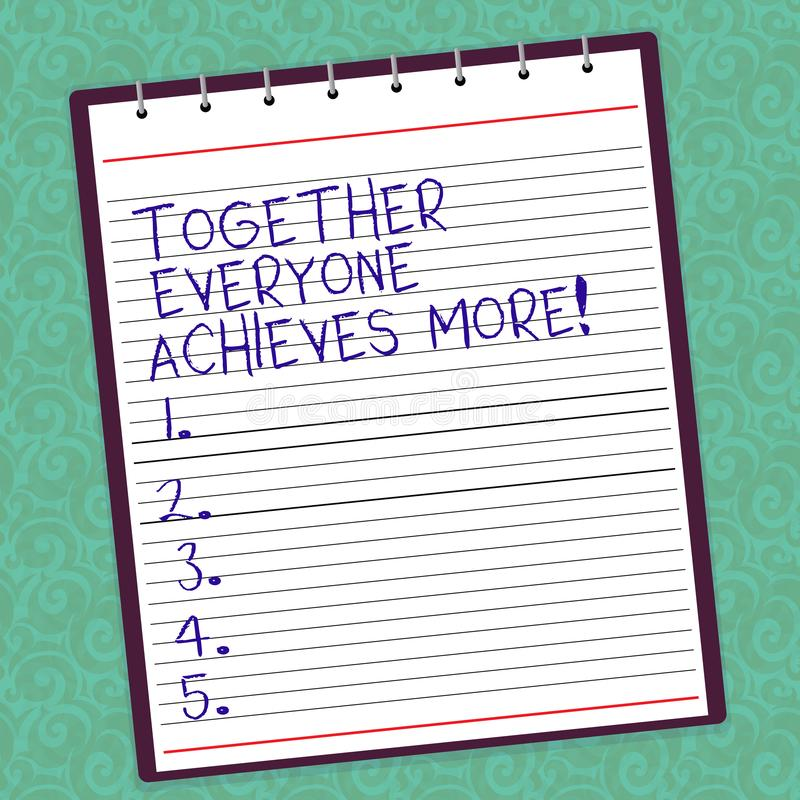 Writing note showing Together Everyone Achieves More. Business photo showcasing Teamwork gives better final results Lined Spiral royalty free stock photography