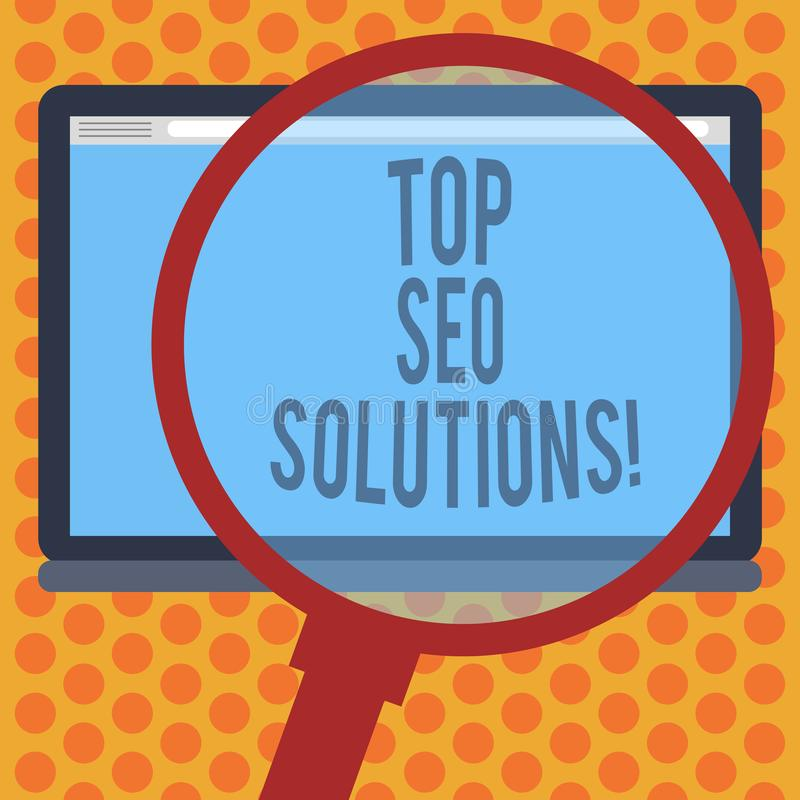 Writing note showing Top Seo Solutions. Business photo showcasing methodology of techniques to increase amount of royalty free illustration