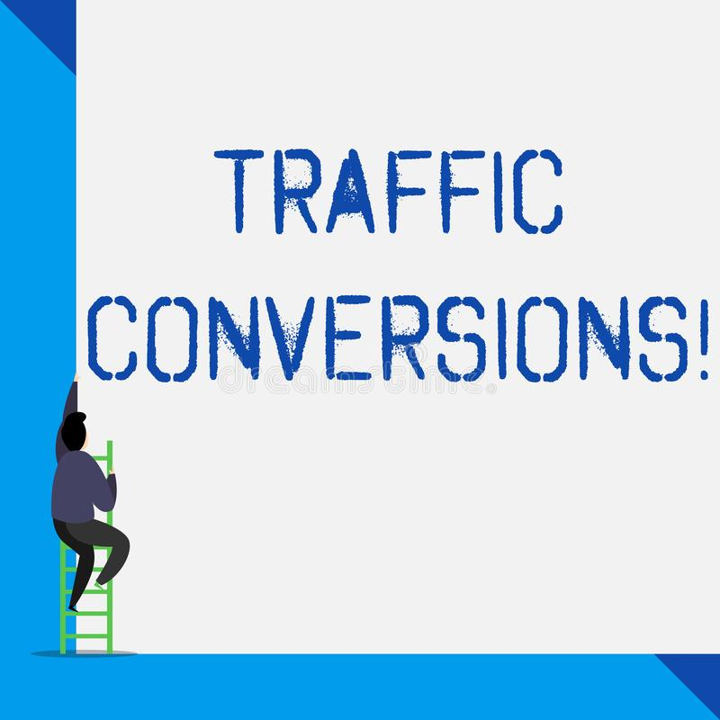 Writing note showing Traffic Conversions. Business photo showcasing visitor who has been converted into a client or. Writing note showing Traffic Conversions stock illustration