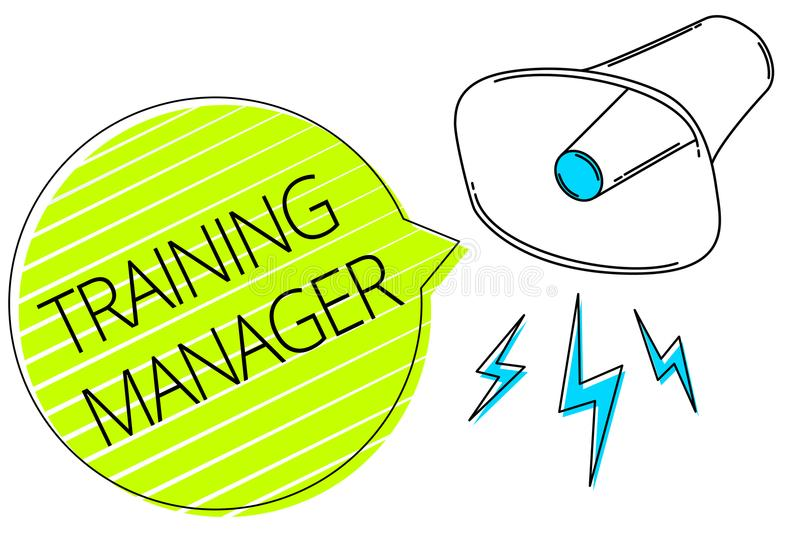 Writing note showing Training Manager. Business photo showcasing giving needed skills for high positions improvement Three lines t stock illustration