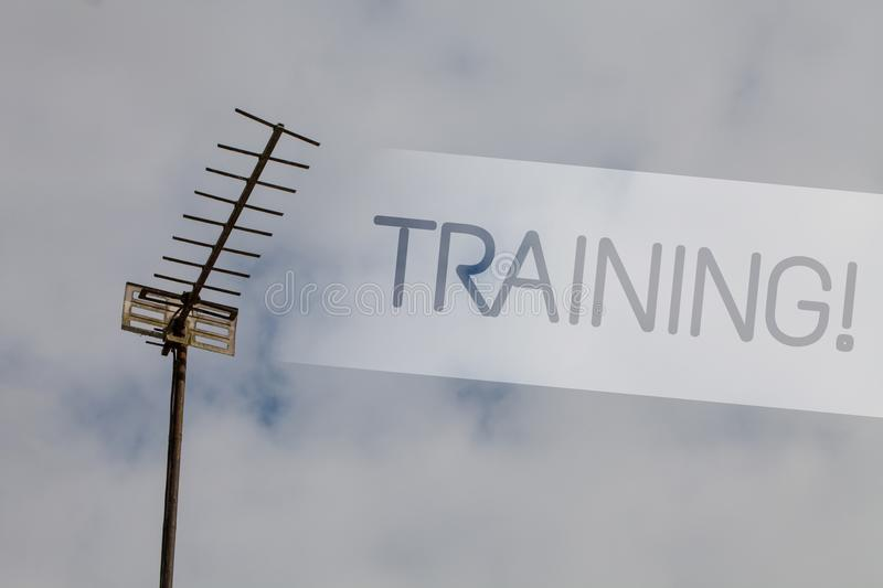Writing note showing Training Motivational Call. Business photo showcasing Organized activity to develop skill set of people Sky c. Loud cloudy grey gloomy tall royalty free stock photography