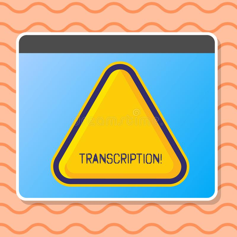Writing note showing Transcription. Business photo showcasing Written or printed process of transcribing words text vector illustration