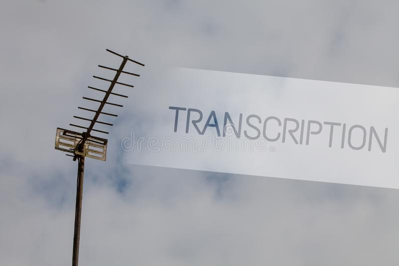 Writing note showing Transcription. Business photo showcasing Written or printed process of transcribing words text voice Sky clou. D cloudy grey gloomy tall big royalty free stock images