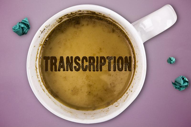 Writing note showing Transcription. Business photo showcasing Written or printed version of something Hard copy of audio.  stock image