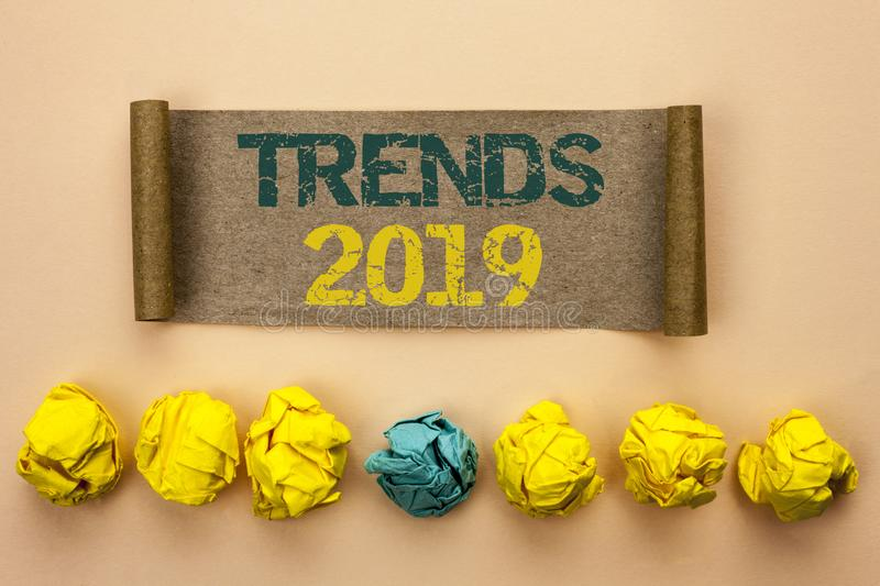 Writing note showing Trends 2019. Business photo showcasing Current Movement Latest Branding New Concept Prediction written on Ca. Writing note showing Trends royalty free stock photos