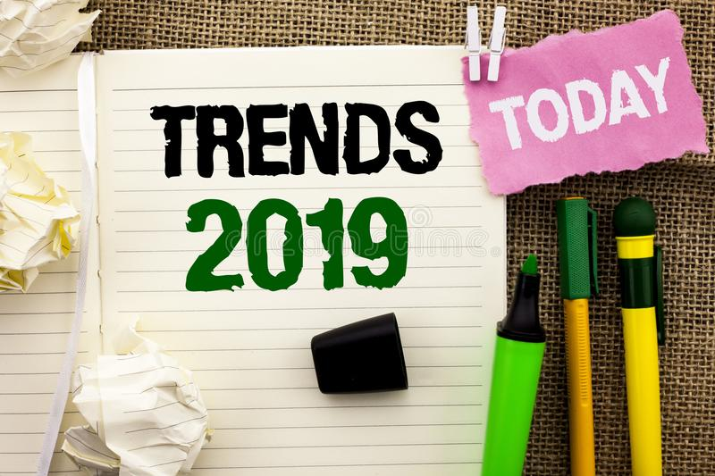 Writing note showing Trends 2019. Business photo showcasing Current Movement Latest Branding New Concept Prediction written on No. Writing note showing Trends stock image