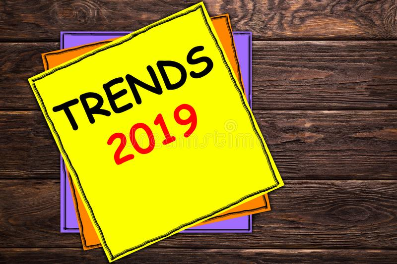 Writing note showing `TRENDS 2019`. royalty free illustration