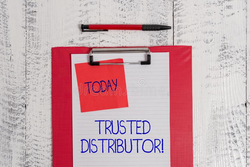 Writing note showing Trusted Distributor. Business photo showcasing Authorized Supplier Credible Wholesale. Writing note showing Trusted Distributor. Business stock photography