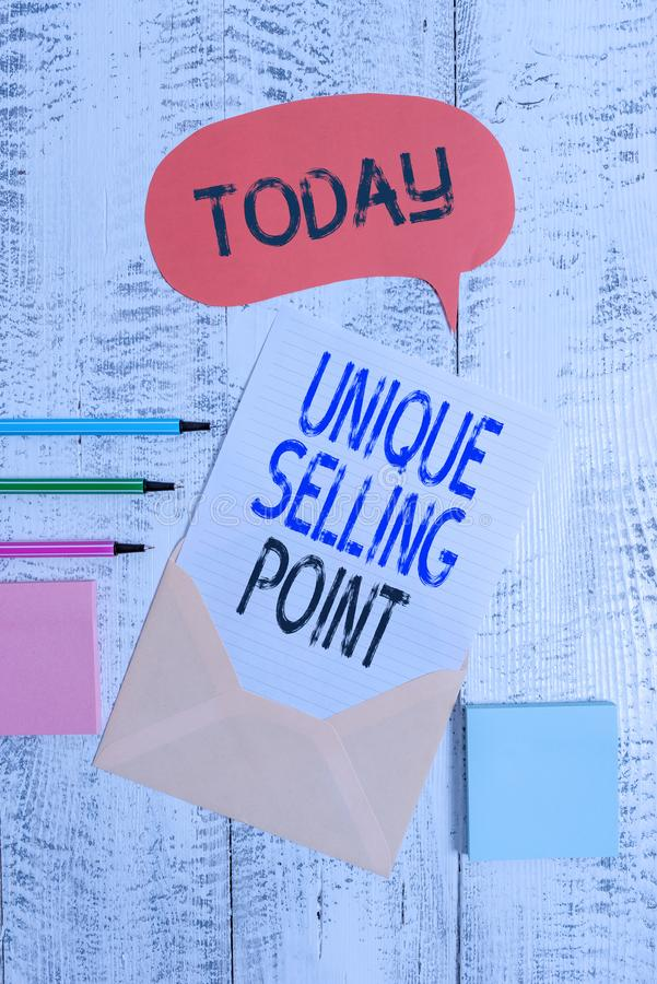 Writing note showing Unique Selling Point. Business photo showcasing Differentiate a Product Specific Features and. Writing note showing Unique Selling Point royalty free stock photo