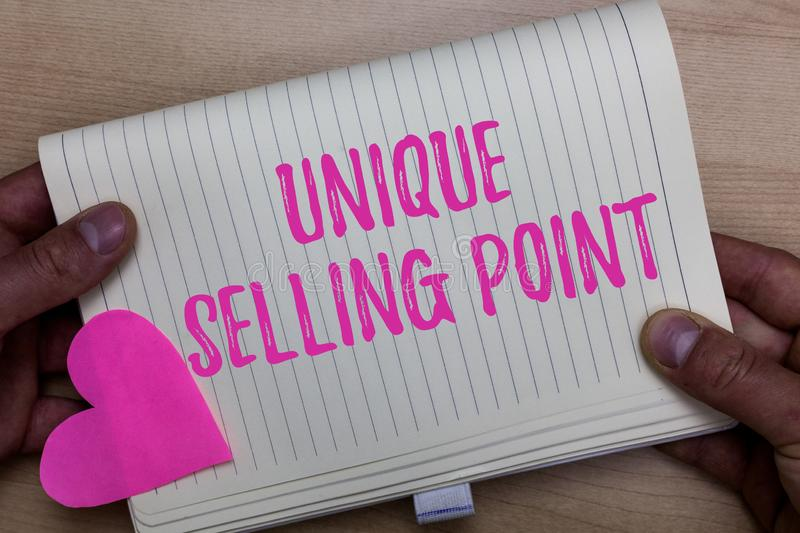 Writing note showing Unique Selling Point. Business photo showcasing Differentiate a Product Specific Features and stock photography