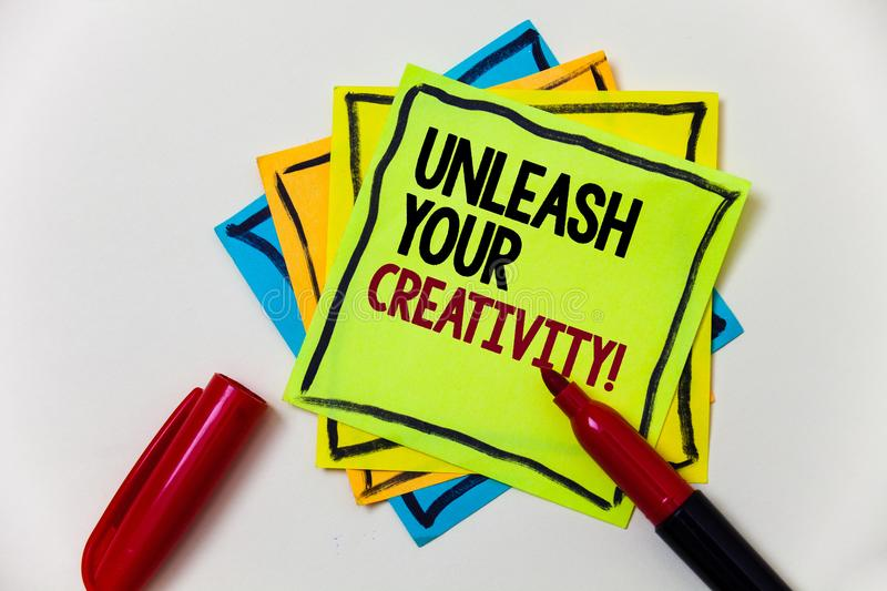 Writing note showing Unleash Your Creativity Call. Business photo showcasing Develop Personal Intelligence Wittiness Wisdom Pen m royalty free stock images