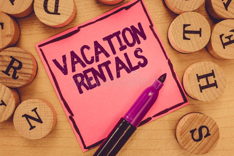 Writing note showing Vacation Rentals. Business photo showcasing Renting out of apartment house condominium for a short stay.  royalty free stock photo