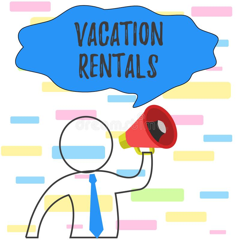 Writing note showing Vacation Rentals. Business photo showcasing Renting out of apartment house condominium for a short. Writing note showing Vacation Rentals royalty free stock image