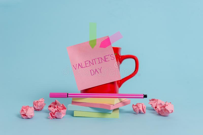 Writing note showing Valentine S Day. Business photo showcasing time when showing show feelings of love and affection. Writing note showing Valentine S Day stock photography