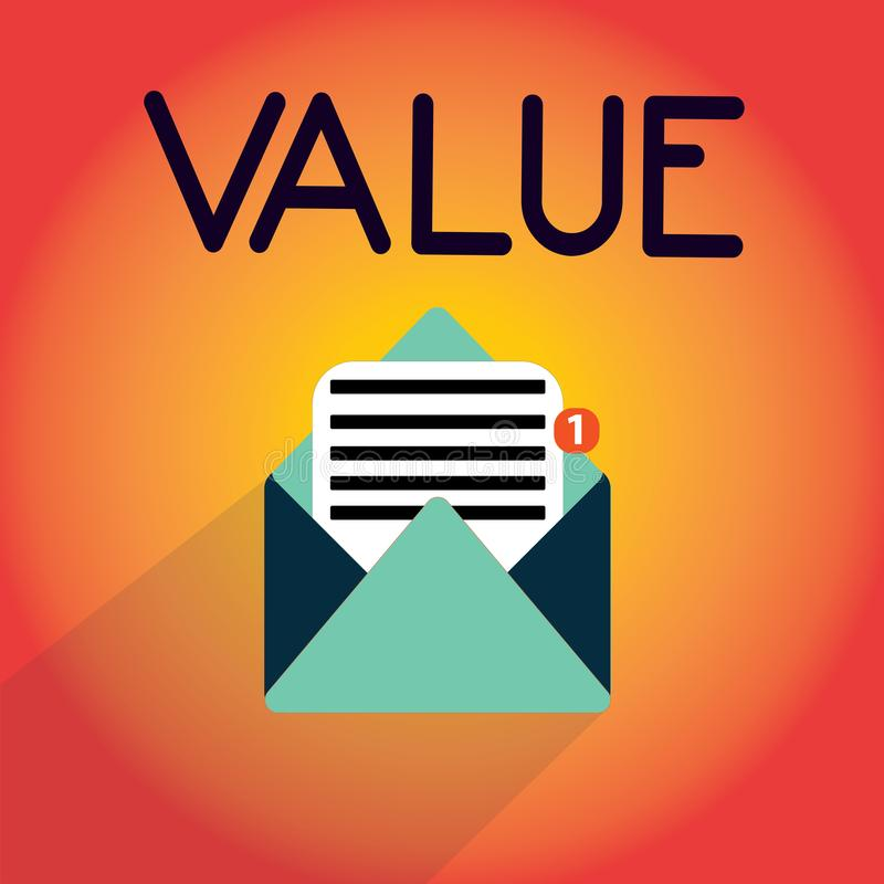 Writing note showing Value. Business photo showcasing principles or standards behaviour judgement what important in life.  royalty free illustration
