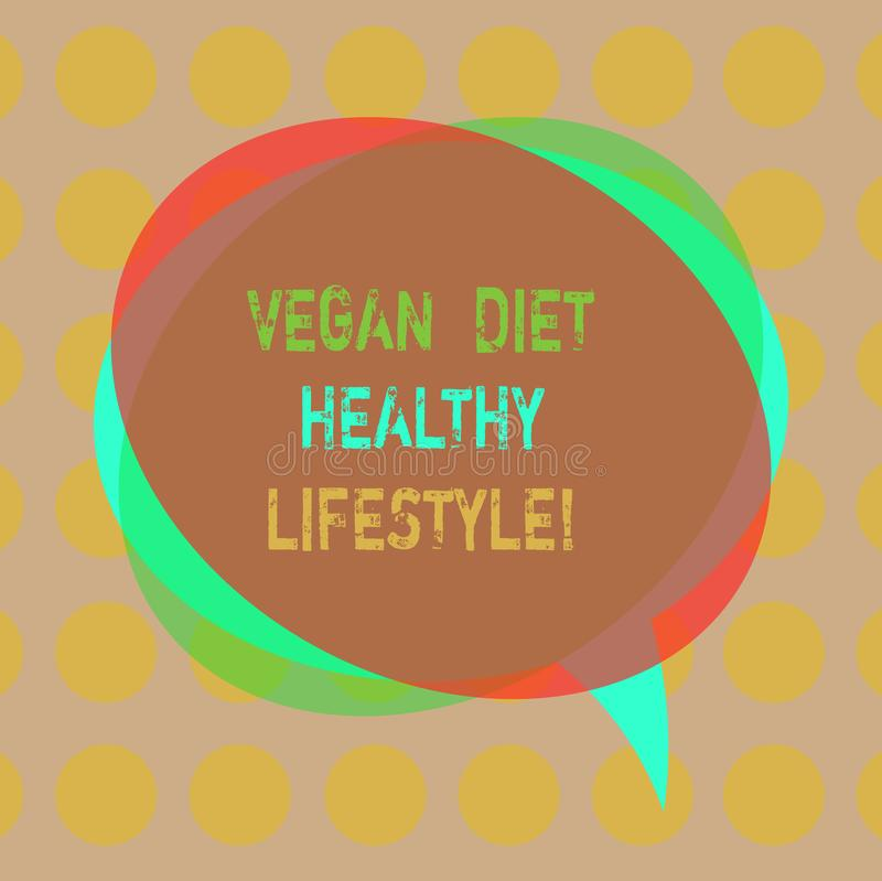 Writing note showing Vegan Diet Healthy Lifestyle. Business photo showcasing Healthy lifestyle eating vegetables and. Fruits Blank Speech Bubble photo and Stack royalty free illustration