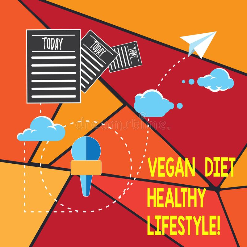 Writing note showing Vegan Diet Healthy Lifestyle. Business photo showcasing Healthy lifestyle eating vegetables and. Fruits Information Passing through Cloud royalty free illustration