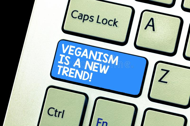 Writing note showing Veganism Is A New Trend. Business photo showcasing Healthy food vegan lifestyle fresh dishes diet. Keyboard Intention to create computer stock photo