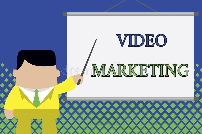 Writing note showing Video Marketing. Business photo showcasing create short videos about specific topics using articles. Writing note showing Video Marketing vector illustration